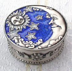 Celestial Sun Moon Stars Enamel and Pewter Round Jewelry Trinket Box