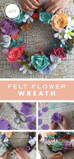 Keep spring on your walls and front door all season long with this felt flower wreath craft from our very own Home Maker, /sallie_dale/. Start by cutting flower petals in all types of shapes and sizes out of felt. Then, glue each petal to pieces of floral Felt Flower Wreaths, Felt Wreath, Wreath Crafts, Diy Wreath, Flower Crafts, Diy Flowers, Fabric Flowers, Paper Flowers, Flower Petals