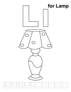 l for lamp coloring page with handwriting practice