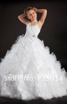Cinderella White Halter First Communion Ball Gown Christmas Crystals Long Pageant Flower Girl Dress/Children Party Dress FD67