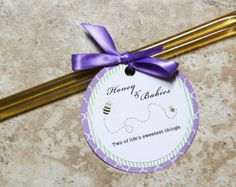 Party Favor Tags for Birthday or Baby Shower-Bumblee Bee Honey Sticks- Quantity 12
