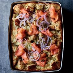 Rye and Crème Fraîche Strata with Smoked Salmon