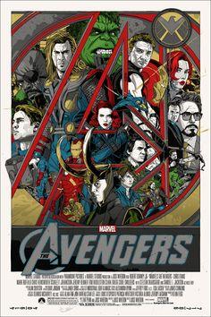 THE AVENGERS Mondo Poster. The final Mondo poster for Joss Whedon's The Avengers, starring Robert Downey Jr., Chris Evans, and Scarlett Johansson. Ms Marvel, Marvel Avengers, Marvel Comics, Avengers Poster, Avengers Movies, Avengers Team, Poster Marvel, Comic Poster, Captain Marvel