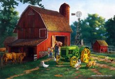 In Charles Freitag's print DADDY'S LITTLE HELPER, a young boy is helping feed the chickens and cows, knowing one day he will get to drive that John Deere tractor all by himself. This Charles Freitag p