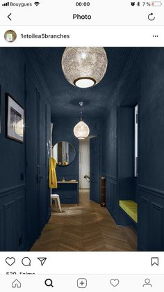 This wonderful Parisian apartment attracts with its contrasts. Light and bright living room opposes to the dramatic hall painted in dark blue tone. ✌Pufikhomes - source of home inspiration Dark Ceiling, Blue Ceilings, Paint Ceiling, Ceiling Lamp, Parisian Apartment, Paris Apartments, Hall Painting, Casa Milano, Beautiful Paris