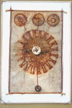 Some pictures of my rust dyed textiles....   Quelques photos de mes tissus teintés en rouille....        Forces Cosmiques           Râ    ...