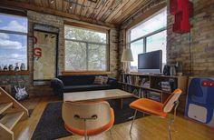 Noble Court Lofts - Unit #413   Toronto LOFTS Toronto Lofts, Centre Island, Hardwood Floors, Flooring, Exposed Brick Walls, Open Concept Kitchen, Wood Ceilings, Beams, Modern Design