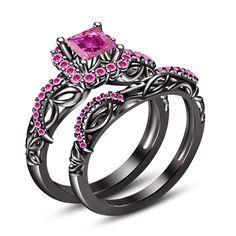 18k Black Gold Finish 925 Silver Pink Cz Disney Princess Bridal Ring Set Gift $$ #Silvergemsjewelry