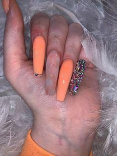 Bling Acrylic Nails, Aycrlic Nails, Best Acrylic Nails, Bling Nails, Acrylic Nail Designs, Swag Nails, Orange Acrylic Nails, Orange Nails, Nail Designs Bling