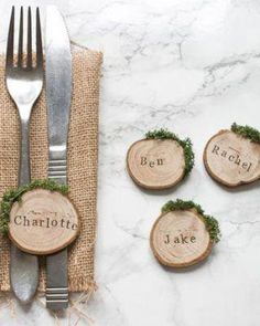 Rustic wood slice and moss wedding place settings / escort cards, perfect for an. Rustic wood slice and moss wedding place settings / escort cards, perfect for an outdoor woodland or barn wedding. French Blue Wedding, Winter Wedding Decorations, Rustic Wedding Table Decorations, Moss Wedding Decor, Barn Wedding Centerpieces, Christmas Wedding Themes, Box Decorations, Ceremony Decorations, Christmas Decorations