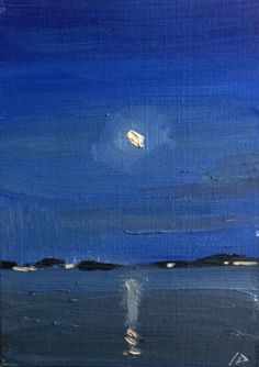 Moon at night Painting over the water - sean dietrich