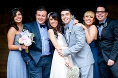 Love the laidback look of this wedding party photo.