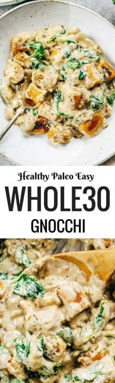 This is the most delicious! 2 Ingredient Paleo Sweet Potato Gnocchi in Spinach Cream Sauce. This recipe can be made ahead and frozen. Easy whole30 dinner recipes. Easy whole30 dinner recipes. Whole30 recipes. Whole30 lunch. Whole30 meal planning. Whole30 meal prep. Healthy paleo meals. Healthy Whole30 recipes. Easy Whole30 recipes. Easy whole30 dinner recipes.