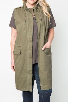 Plus Long Canvas Zippered Vest