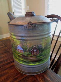 Hand Painted Farm Scene on Large Vintage by EstellesPaintedTreas, $80.00