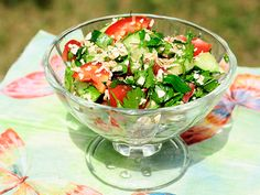 fitnes salad with oatmeal