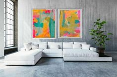 TWO ORIGINAL DIPTYCH MIXED MEDIA PAINTINGS TWO signed paintings, not just ONE - This is a Diptych (2 paintings) abstract mixed media pieces. These two pieces will be sent to you rolled up in a tube ready for you to frame. Perfect for your living room, bedroom, office, study or family room. These Office Art, Bedroom Office, Modern Art Prints, Affordable Art, Abstract Wall Art, Painted Signs, Printable Art, Painting Prints, Home Art