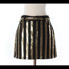 Michael kors sequin skirt Michael kors striped sequin skirt. Cotton polyester spandex blend. Length is 14 in. New without tags. Ships within one week. Michael Kors Skirts Mini