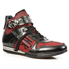 Black & Red Leather Hi-Top Dress Sneakers w Skull Buckle *May take up to 45 - 50 Days to Receive*-Quality Black & Red leather hi-top dress sneakers from New Rock Shoes. Lacing up the front, Skull buckle on the top to adjust for comfort. New Rock Boots, Dress With Sneakers, Shoe Shop, Red Leather, Skull, Lace Up, Men, Shopping, Shoes
