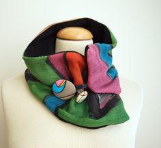 Hand painted Silk & Wool Neck Warmer-28x7 in.Ideas for her.Scarf neck warmer.Handpainted de gilbea en Etsy