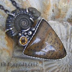 Ancient Sands - Petrified Wood and Pyrite Ammonite Fossil Sterling Silver Necklace