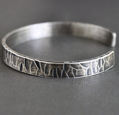 Mens Rustic Cuff Bracelet Thick Silver Hammered by LynnToddDesigns