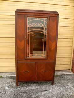 Art Deco China Hutch / Liquor Cabinet Case in contrasting grain ...