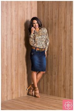Saia Ilhos Jeans Nítido Jeans #viaevangelica #nitidojeans #modaevangelica #modafeminina