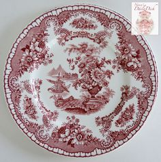 Antique Red Chinoiserie Transferware Salad Plate Ship Sailboat Flowers