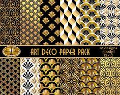 Art Deco Paper Pack Digital Backgrounds Art Deco Digital Paper PackMetallic Black Gold White Art Deco Paper Commercial Use Great Gatsby-Party Papeterie Motifs Art Nouveau, Motif Art Deco, Art Deco Design, Art Blanc, Art Deco Colors, Design Industrial, Estilo Art Deco, Art Deco Stil, Digital Backgrounds