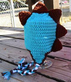 3-6 month Teal Brown Dinosaur Earflap Beanie $20.00 on Etsy!