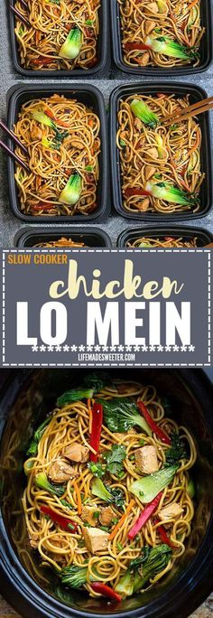 Crock pot Slow Cooker Chicken Lo Mein makes the perfect easy Asian-inspired week. - Crock pot Slow Cooker Chicken Lo Mein makes the perfect easy Asian-inspired weeknight meal and perf - Slow Cooker Chicken, Slow Cooker Huhn, Crock Pot Slow Cooker, Crock Pot Cooking, Cooking Recipes, Healthy Recipes, New Recipes, Slow Cooker Meal Prep, Crockpot Recipes Asian