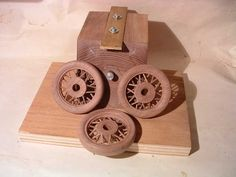 Wheels After Shaping on Lathe - wooden car build