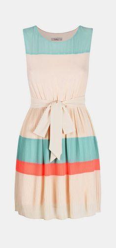 Aqua and coral stripe block dress