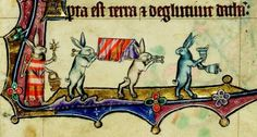 Ya dijimos que había liebres muy religiosas. Macclesfield Psalter. England, ca. 1330.  Cambridge, Fitzwilliam Museum, fol. 11