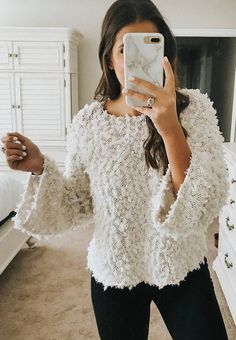 #fall #outfits fluffy sweater black pants