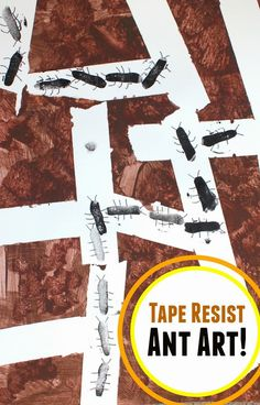 Tape Resist Ant Art- Great way to combine science and art by learning about ants and then making artwork about their tunnels! Ant Crafts, Insect Crafts, Classroom Art Projects, Art Classroom, Kindergarten Art, Preschool Crafts, Minibeast Art, Ant Art, Bug Activities