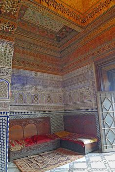 Dar Si Said, richly decorated dance/reception room. Marrakech.