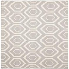Moroccan Dhurrie Gray/Ivory Wool Indoor Rug (8' Square)