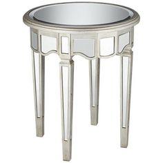 Annette Antique Silver Mirror End Table - #X7359 | LampsPlus.com
