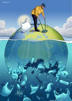 Ilustraciones que nos demuestran lo mal que va nuestra sociedad - CABROWORLD Save Planet Earth, Save Our Earth, Salve A Terra, Save Earth Drawing, Art Environnemental, Earth Drawings, Ocean Pollution, Water Pollution Poster, Water Poster