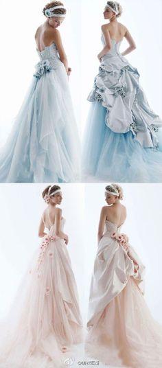 stunning blue wedding dress and light pink wedding dress