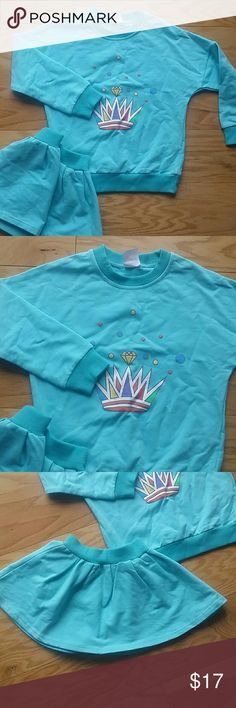 NWT Crown in Blue Mini Skirt Set Adorable 2 pc set of skirt and long sleeve top in a beautiful blue with a crown design.  Perfect with a pair of legging and boots  This item is brand new and never used.?? with tags. ?? ?? ?? ?? This Leighton Alexander  Matching Sets