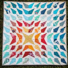 "Mini Wavelength Quilt (""Explosion"" variation) by Stephanie of Simple Sewendipity. Pattern available through Freshly Pieced Pattern Shop"