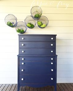 Painted dresser by Amanda of Ferpie and Fray in Coastal Blue by General Finishes