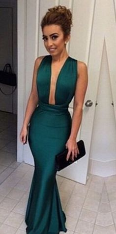 new arrival long Sexy Prom Dress, dark green mermaid evening gowns v-neck satin prom dress