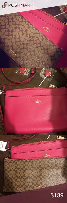 Coach Crossbody AND Makeup Bag Brand new with tags and care instructions.  It is Hot pink with a tan brown makeup bag connected.  It measures 11x7 inches.  Absolutely beautiful ❤️ Coach Bags Crossbody Bags