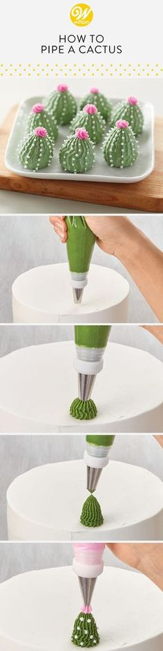 Want to try this with meringues! Learn how to pipe a buttercream cactus using star and round tips! This technique is great for creating beautiful and trendy succulent themed desserts! Frosting Techniques, Frosting Tips, Frosting Recipes, Buttercream Frosting, Buttercream Flowers, Cake Decorating Techniques, Cake Decorating Tutorials, Cookie Decorating, Cupcakes Decorating