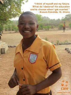 Girls deserve an education and a choice: Preventing child marriage in Ghana  http://blog.care.ca/2014/girls-deserve-an-education-and-a-choice-preventing-child-marriage-in-ghana/
