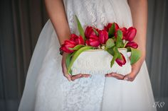 wedding bouquet inside a clutch